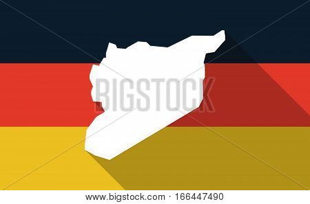 Long Shadow Germany Flag With  The Map Of Syria