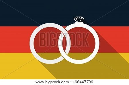 Long Shadow Germany Flag With  Two Bonded Wedding Rings