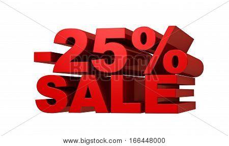 Red letters -25 SALE discount concept 3d illustration.