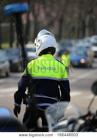 Flashing Siren Of Police Motorcycle And An Italian Traffic Offic