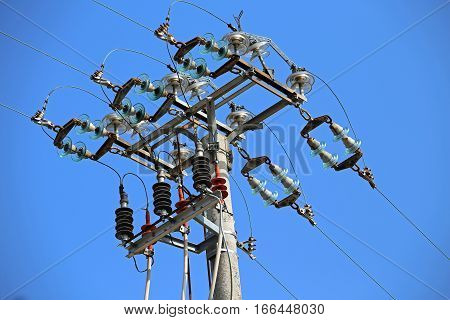 Big Switches Of A High Voltage Power Line With  Concrete Pole An