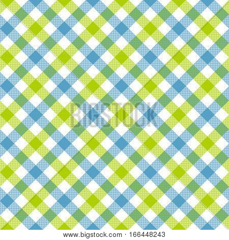 White green blue check plaid fabric texture seamless pattern. Vector illustration. EPS 10.