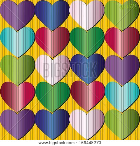 Texture colorful heart Author design print wrap holiday gift bright striped Parallel drawing handmade Stock vector illustration