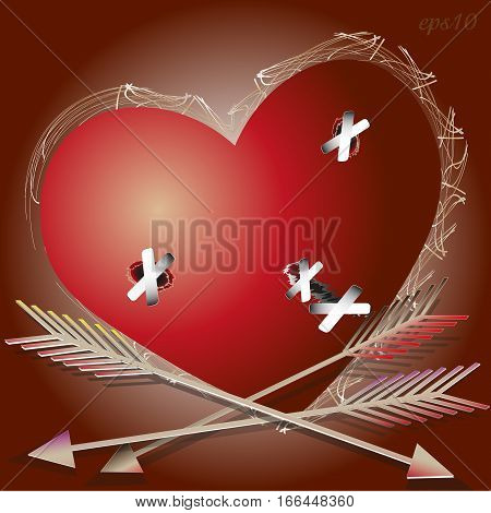 The wounded heart Abstract valentine greeting card writer design cupid arrow wound to seal the plaster large signboard handmade Stock vector illustration