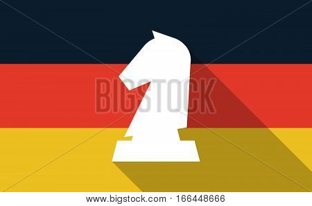 Long Shadow Germany Flag With A  Knight   Chess Figure