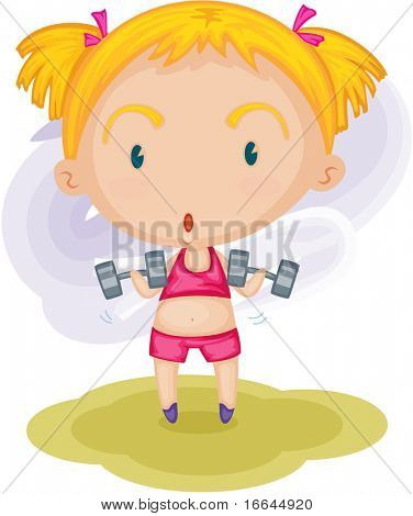 Illustration of a girl doing excercise on a white background