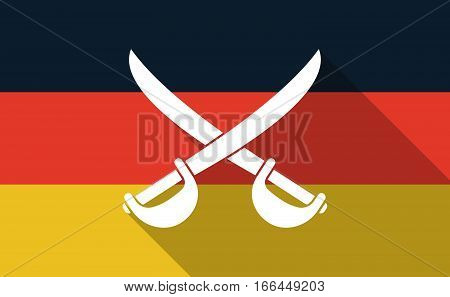Long Shadow Germany Flag With  Two Swords Crossed