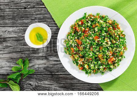 Parsley Salad Or Tabbouleh On White Platter