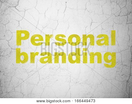 Marketing concept: Yellow Personal Branding on textured concrete wall background