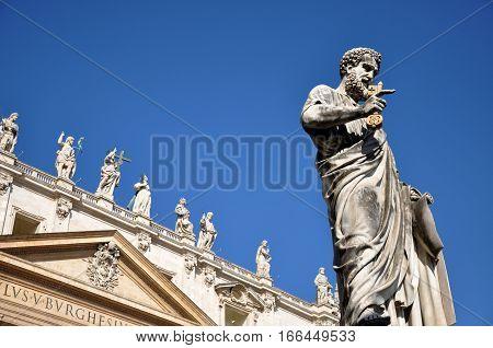 Statue Of Saint Peter In Piazza San Pietro, Vatican