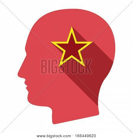 Isolated Male Head With  The Red Star Of Communism Icon