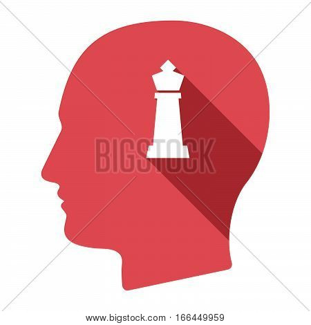 Isolated Male Head With A  King   Chess Figure