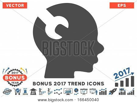 Cobalt And Gray Brain Wrench Tool pictogram with bonus 2017 trend clip art. Vector illustration style is flat iconic bicolor symbols, white background.