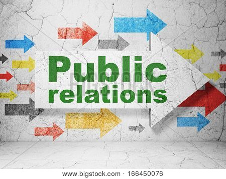 Marketing concept:  arrow with Public Relations on grunge textured concrete wall background, 3D rendering