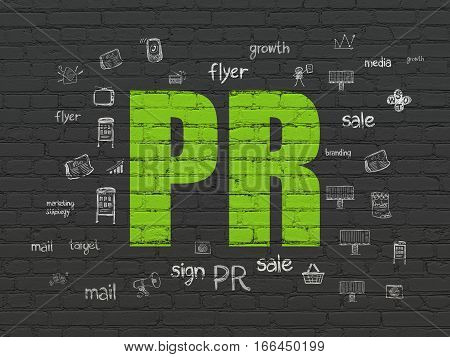 Marketing concept: Painted green text PR on Black Brick wall background with  Hand Drawn Marketing Icons