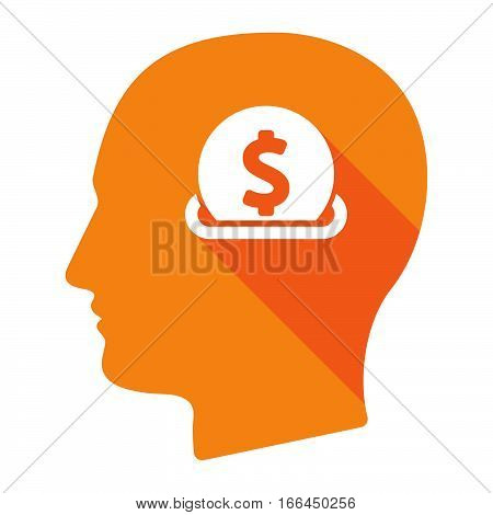 Isolated Male Head With  A Dollar Coin Entering In A Moneybox