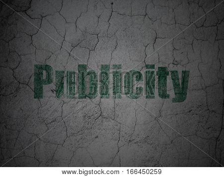 Advertising concept: Green Publicity on grunge textured concrete wall background