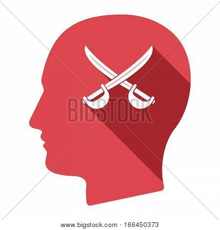 Isolated Male Head With  Two Swords Crossed