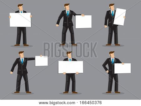 Set of six vector illustration of a businessman character in black suit and blue necktie holding rectangular blank placard with copy space isolated on grey background.