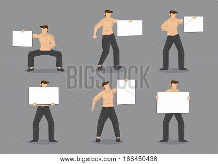 Set of six vector illustrations of muscular man wearing only black pants with bare torso holding blank placard sign with copy space isolated on plain grey background.