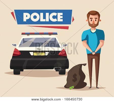 Police banner. Cartoon vector illustration. Criminal in handcuffs. Robber arrest