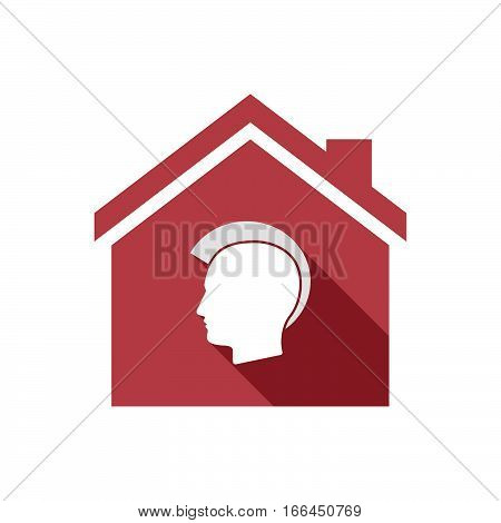 Isolated House With  A Male Punk Head Silhouette