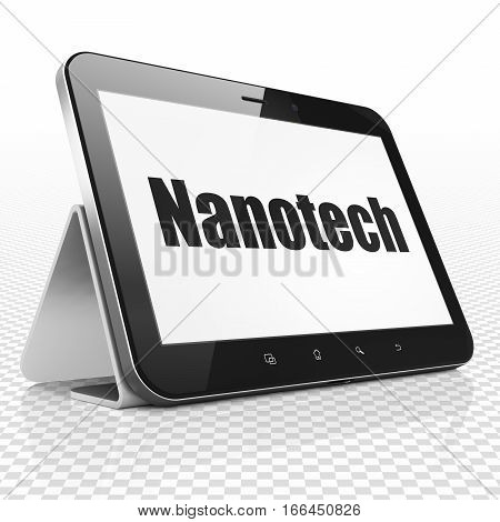 Science concept: Tablet Computer with black text Nanotech on display, 3D rendering
