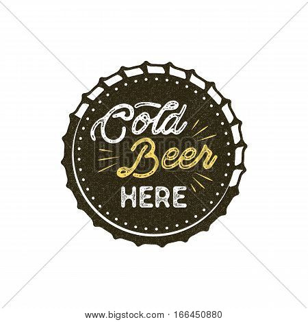 Vintage style beer badge. Ink stamp monochrome design. Cold beer here sign. Letterpress effect for t shirt printing, logotype, signage. Vector isolated on white background.