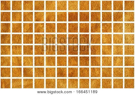 Golden Squares On White Background.