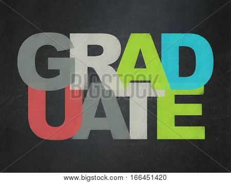Studying concept: Painted multicolor text Graduate on School board background, School Board