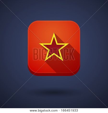 Long Shadow Button With  The Red Star Of Communism Icon
