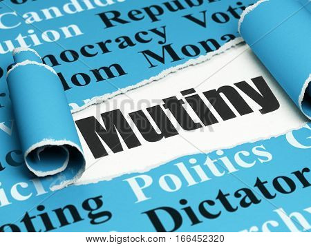 Political concept: black text Mutiny under the curled piece of Blue torn paper with  Tag Cloud, 3D rendering