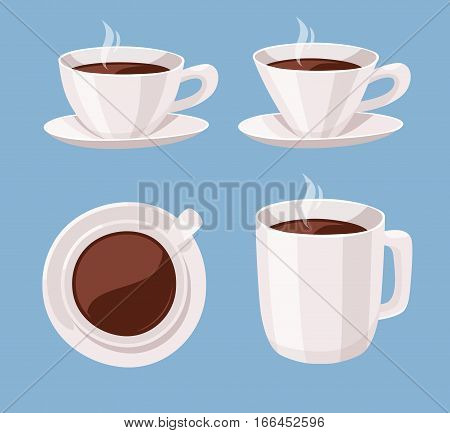 Set of Cartoon Style Cup. Vector Illustration Liquid Chocolate. Hand Drawn Caffeine Drinks. Hot and Fresh Black Coffee