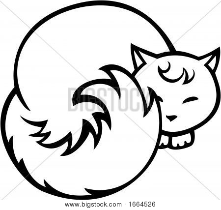 vector - Illustration of a cat on white poster