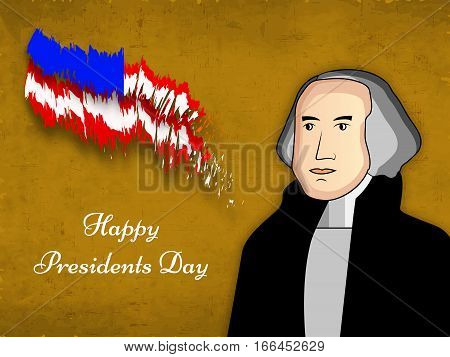 Illustration of U.S.A Flag for President Day with George Washington