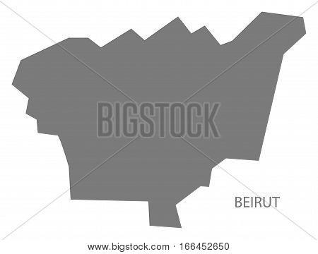 Beirut Lebanon Map in grey illustration silhouette