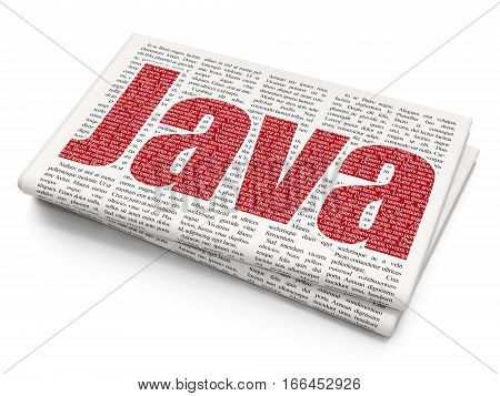 Software concept: Pixelated red text Java on Newspaper background, 3D rendering