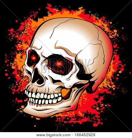 vector illustration of a skull with glowing red eyes on a background of red and yellow paint spots