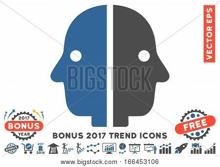 Cobalt And Gray Dual Face pictograph with bonus 2017 year trend symbols. Vector illustration style is flat iconic bicolor symbols, white background.
