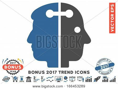 Cobalt And Gray Dual Head Connection icon with bonus 2017 trend icon set. Vector illustration style is flat iconic bicolor symbols, white background.