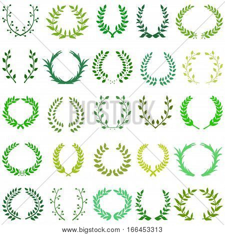 Hand drawn decorative floral set of 25 wreaths made in vector. Unique collection of laurel wreaths and branches in a different shades of green.