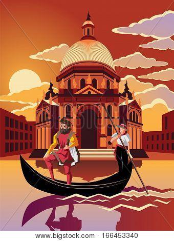 Illustration of gondola ride through Venice at dusk