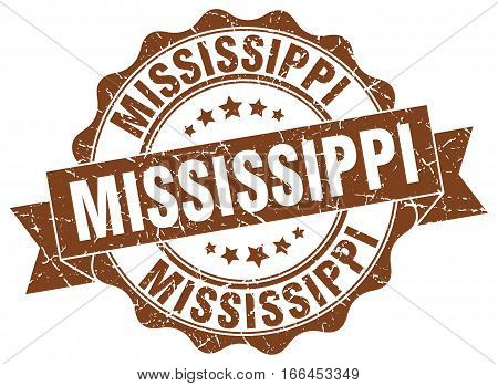 Mississippi. round isolated grunge vintage retro stamp