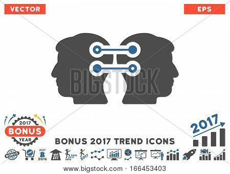 Cobalt And Gray Dual Heads Interface Connection icon with bonus 2017 year trend symbols. Vector illustration style is flat iconic bicolor symbols, white background.