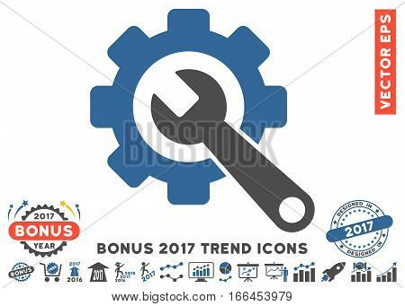 Cobalt And Gray Gear And Wrench pictograph with bonus 2017 year trend pictograph collection. Vector illustration style is flat iconic bicolor symbols, white background.