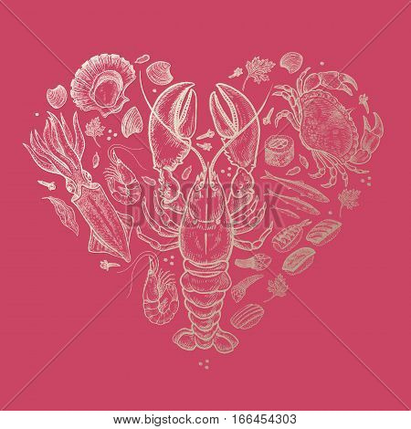 Delicious heart of seafood. Vector illustration art set. Hand drawing of sea animals lobster crab squid fish anchovy shellfish sushi gold foil on pink background. Vintage engraving. Luxury design