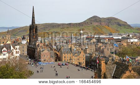 EDINBURGH, SCOTLAND - MAY 6, 2016:General view of Edinburgh from Edinburgh Castle with Holyrood Park and Arthur's Seat in the background