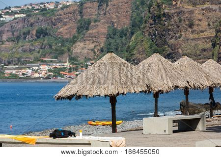 Vew of the coastline in Ribeira Brava on Madeira Island. Portugal