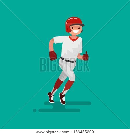 Baseball runner player . Vector Illustration flat design