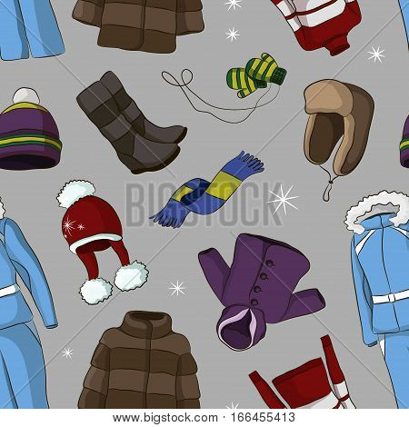 Set of warm winter clothes design pattern. Scarf and winter fashion, hat, winter coat, cloth and hat, jacket and glove, coat, outerwear seasonal illustration